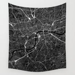London Black Map Wall Tapestry
