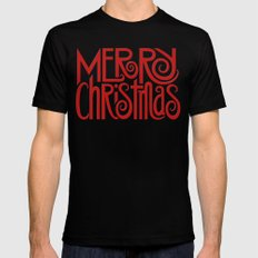 Merry Christmas Text red MEDIUM Black Mens Fitted Tee