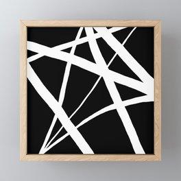 Geometric Line Abstract - Black White Framed Mini Art Print