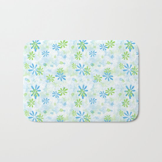 Blue and Green Floral Pattern Bath Mat