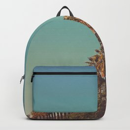 Row of California Palm Tree Nostalgic Vintage Vibes Sepia Sunset Backpack