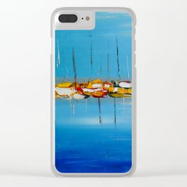 Abstract Boats with Sails Down Waiting to Sail Clear iPhone Case