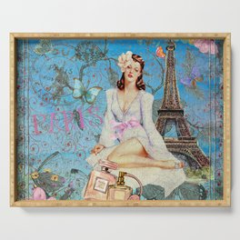 Paris - mon amour - Fashion Girl In France Eiffel tower Nostalgy - French Vintage Serving Tray