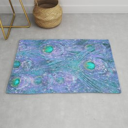 Teal and Purple Peacock Feathers Rug