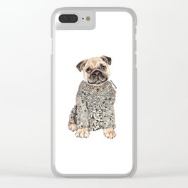 Pug Zentangle Doodle Black and White Pen Realistic Drawing Clear iPhone Case