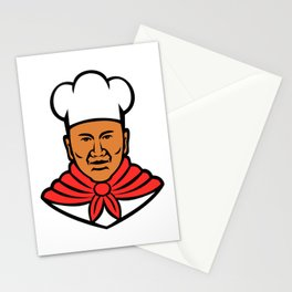 African American Baker Chef Cook Mascot Stationery Cards