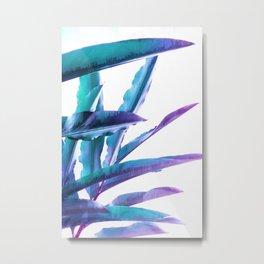 Tropical Flair - Foliage glitch in blue, Aqua and Purple Metal Print
