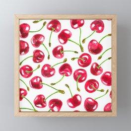 Watercolor cherries pattern Framed Mini Art Print