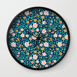 "Cute Floral pattern in the small flower. ""Ditsy print"". Wall Clock"