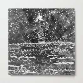 Lady Liberty under Starry Sy Metal Print