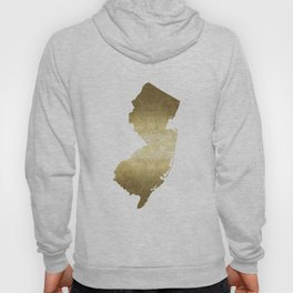 New Jersey state map gold foil Hoody
