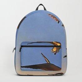Seagulls In Flight Black Outline Art Backpack
