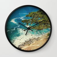 big sur Wall Clocks featuring Big Sur - Sapphire Shore by Jenndalyn