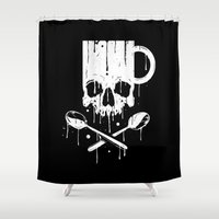 pirates Shower Curtains featuring Coffee Pirates by Roberlan Borges