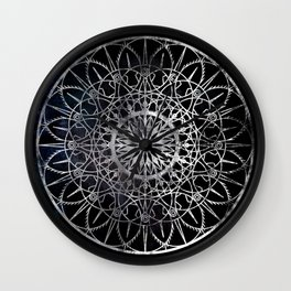 Fire Blossom - Black Wall Clock