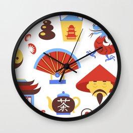 China viajes símbolos de la cultura tradicional china patrón transparente ilustración vectorial Wall Clock
