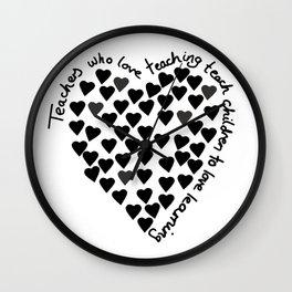 Hearts Heart Teacher Black on White Wall Clock
