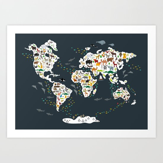 Cartoon animal world map for children, kids, Animals from all over the world, back to school, gray by ekaterinap