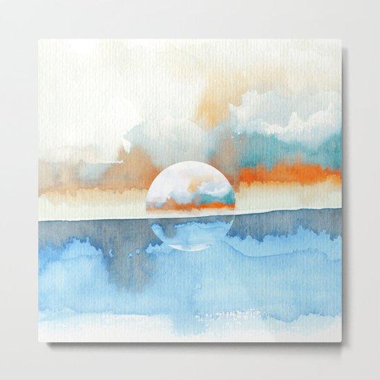 Orange Sea Drop Metal Print