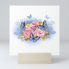 Three Pink Roses with Butterflies Mini Art Print