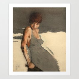 The Dress' Nude Figure Expressive Painting of Female Woman Black and White  Art Print