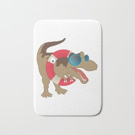 Funny Pool Party T-Rex Dinosaur Dino Jurassic Design Bath Mat