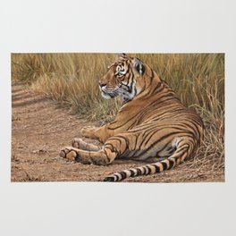 Ranthamboure Roadblock Tiger by Alan M Hunt Rug
