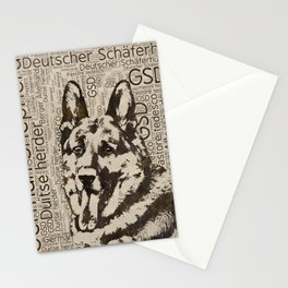 German Shepherd Dog - Wooden Texture  on Canvas Stationery Cards