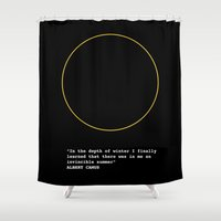 camus Shower Curtains featuring Albert Camus by Polish Miss