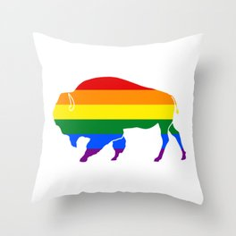 LGBT Pride Bison Throw Pillow