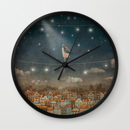 Illustration of  cute houses and  pretty girl   in night sky Wall Clock