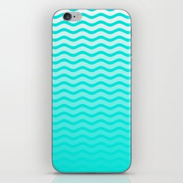 Bright Turquoise and White Faded Chevron Wave iPhone Skin