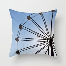 The Wheels Fly - Blue Throw Pillow