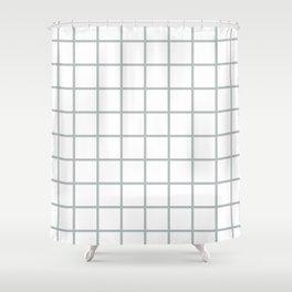 GRID DESIGN (SILVER-WHITE) Shower Curtain