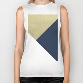 Gold meets Navy Blue & White Geometric #1 #minimal #decor #art #society6 Biker Tank