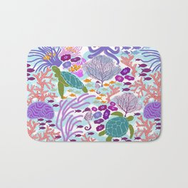 Rush Hour at the Reef - Ocean Life - Sea Life - Marine - beach  Bath Mat