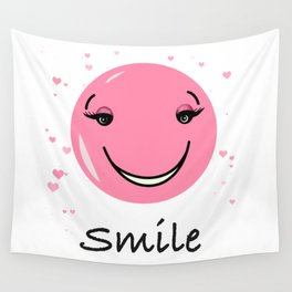 Pink cute smily face design Wall Tapestry