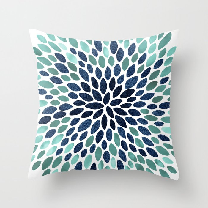 Flower Bloom, Aqua and Navy Deko-Kissen