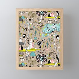 Magical Garden (Beige) Framed Mini Art Print