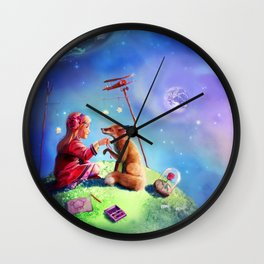 The little princess and the fox Wall Clock