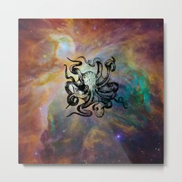 Octopus in Space Metal Print