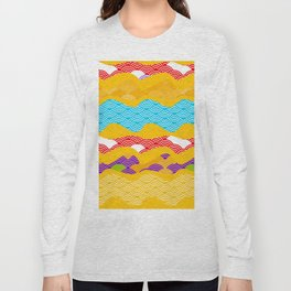 Summer bright pattern  scales simple Nature background with Chinese wave circle pattern Long Sleeve T-shirt