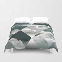 polygon Duvet Covers featuring Waves polygon by cat&wolf