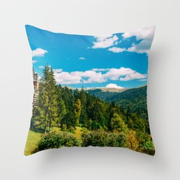 Peles Palace In Transylvania, Architecture Photography, Medieval Castle, Mountain Landscape, Romania Throw Pillow