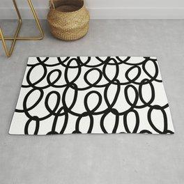 Loop the Loop / Black on white Rug