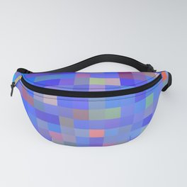 geometric square pixel pattern abstract in blue and pink Fanny Pack