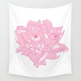 Pink and White Peony Flower Summer Garden Illustrated Print Wall Tapestry