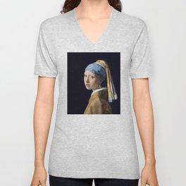 Girl With a Pearl Earring - Vermeer Unisex V-Neck