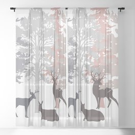 Morning Deer In The Woods No. 2 Sheer Curtain