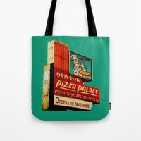 pizza Tote Bags featuring Pizza by Hazel Bellhop